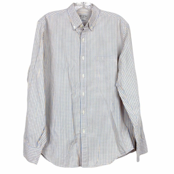 J. Crew plaid button down top blue and yellow